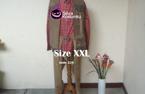 Sewa Kostum Cowboy Cowo Dewasa Merah XXL kode 228